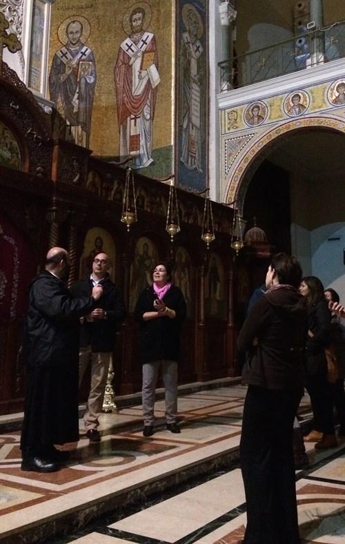 MRel students at the Catholic Church of St. Paul in Dar'oun Harissa, Lebanon. (Photo: Ashley al-Saliby)