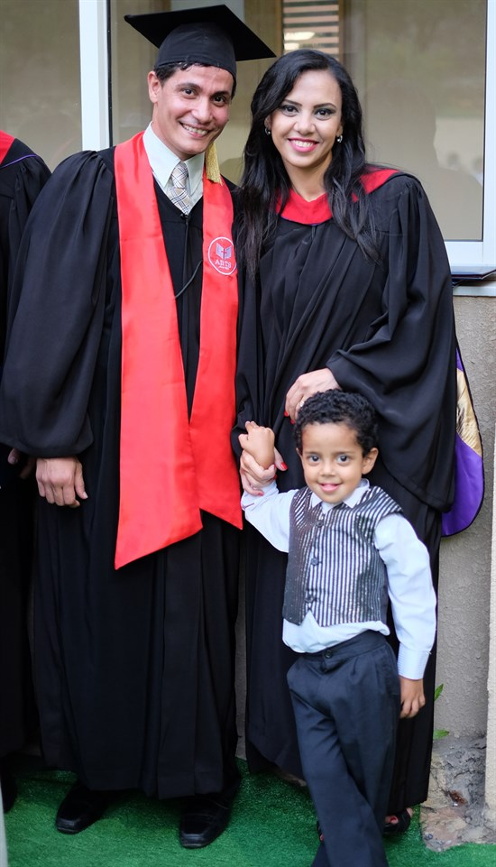 Benyamin, Magi, and their youngest son Jason after graduation. (Photo: Wissam al-Saliby)